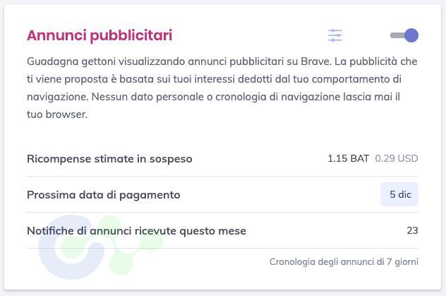Brave Browser annunci
